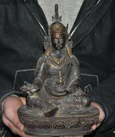 """9""""Tibet Buddhism bronze Gilt Inlay Gem Padmasambhava Guru Rinpoche Buddha statue"""