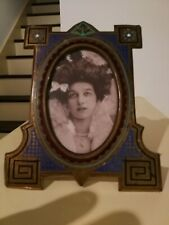 CHARMING RARE 19th CENTURY ENAMEL AND METAL PHOTO FRAME