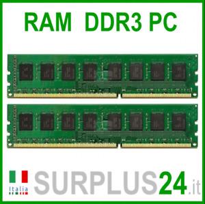 KIT RAM 8Gb (2x4Gb) PC3-12800U 1,5v 1600Mhz 240pin Memoria x DESKTOP No Ecc