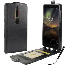 Black Leather Flip wallet card Case Cover for Nokia 6.1 / 6 2018 + FREE Stylus