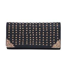 Premium Large PU Leather Studded Front Flap Clutch Bag Handbag - Diff Colors