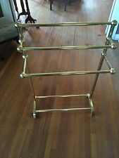 Large Vintage Hollywood Regency Heavy Solid Brass Towel Rug Quilt Stand Rack