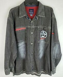 Vintage Bugle Boy Black Faded Denim Jean 1990s Size Large Button Up Jacket