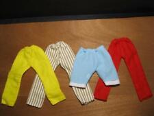CIRCA 1970s HANDMADE barbie Ken Doll VINTAGE clothes-4 PAIRS PANTS PJs LOUNGE