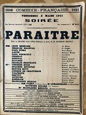 Affiche originale Paraitre 1921 théâtre national Odeon Paris