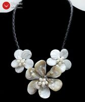 White Baroque Shell Flower & Pearl Pendant Necklace for Women & Black Rope 18''