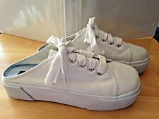 """NO BOUNDARIES Ladies Canvas Low Back White Casual Sneakers """"TACK"""" Size 5 1/2"""