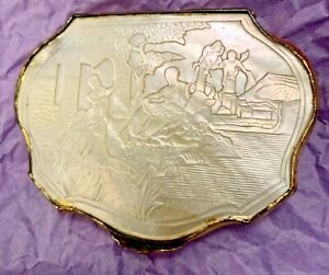 Antique French Gilt Carved Scenic Mop Nacre Compact Coin Purse