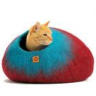 Soft Wool Cat Cave Warm Kitten House Round Handmade Natural Felt Pet Cocoon Gift