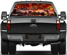 Burning USA Flag  In God We Trust New York 9/11 Rear Window Graphic Decal