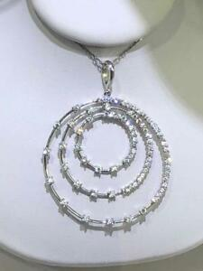 Platinum Sterling Silver Pave White Sapphire Open Halo Round Drop Necklace Gift