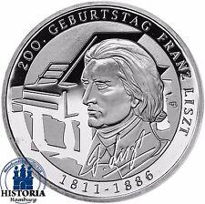 Deutschland 10 Euro Franz Liszt 2011 Silber-Gedenk-Münze Spiegelglanz