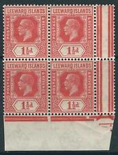 George V (1910-1936) Leeward Islands Stamp Blocks