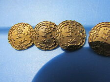 Button Antique Gilt Brass Ornate Carved Flowers Leaves Gorgeous Set 4 Early