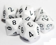 Set of 7 White Poly Dice