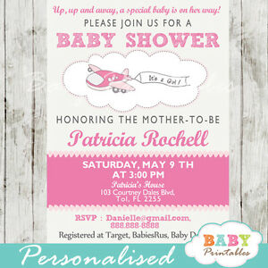 Pink Airplane Baby Shower Invitation for Girls - Printable Digital File
