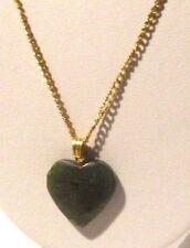 pendentif chaîne collier vintage couleur or cœur amour jade vert véritable 3244