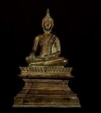 """Grande Due Pezzi DEL XIX SECOLO ANTIQUARIATO Laos illuminismo Buddha Statua -50 cm / 20 """""""