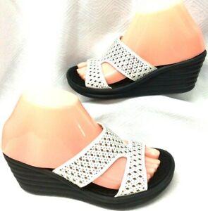 Women's Size 6.5 SKECHERS Sandals White Bling Memory Foam Comfort Wedge Shoes