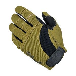 Biltwell Moto Gloves, Motorcycle Gloves, Olive-Schwarz-Beige SIZE XS