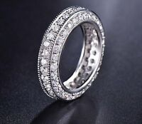 Solid 14k White Gold 0.98Ct Round Eternity Diamond Engagement Wedding Band