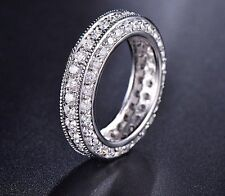 1.00 CT BRILLIANT CUT ETERNITY BRIDAL DIAMOND WEDDING BAND SOLID 14KT WHITE GOLD
