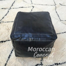 Free Shipping! Moroccan black square Leather Pouf