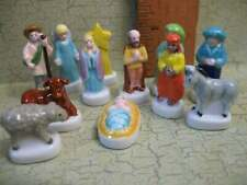 NATIVITY Set Kids 12pc  -  French Feves Santons Porcelain Miniatures Mini B100