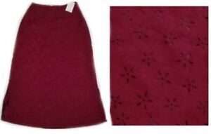 NWT COLDWATER CREEK lined wine FAUX SUEDE SKIRT with LASER CUT FLOWERS size P S