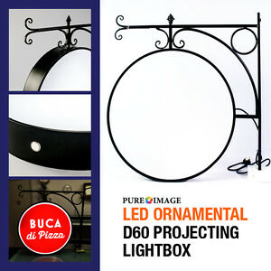 Iron Ornamental LED 2 Sided BlanK Round Outdoor Projecting Light box Sign 60CM
