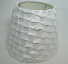 "White Satin Cloth Ruffle Waffle Look Lampshade 10"" diameter 8"" height"