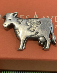"James Avery Cow Brooch 925SS 1 1/2"" Beautiful 8.6grms Gift Box RARE"
