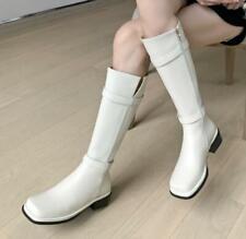 Women's Biker Western Mid Calf Knee High Boots Square Toe Low Heel Shoes 35-42 L