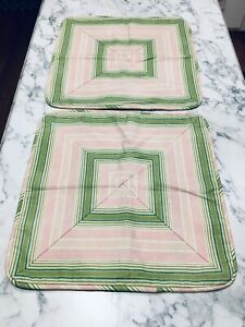 """SET OF 2 WAVERLY RODEO DRIVE PINK 17"""" SQUARE STRIPED PILLOW COVERS UNUSED USA"""