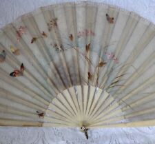 Antique Hand Held Folding Fan, Hand Painted On Silk, Ivory Colour Guards, Sticks