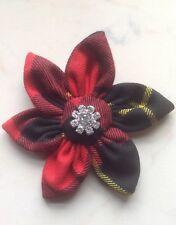 Wallace Tartan Flower Diamante Brooch/Corsage-Hogmanay,Burns Night