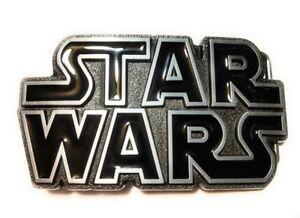 Original STAR WARS metal logo belt buckle NEW design Black Pewter color Cosplay