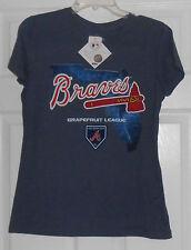 Majestic Braves Grapefruit League Map Blue Womens  2014 T Shirt Size Medium NWT