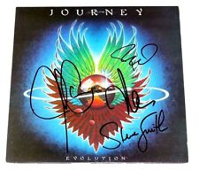 JOURNEY BAND SIGNED 'EVOLUTION' VINYL ALBUM COVER AUTHENTIC X4 w/COA PROOF