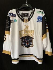 Nottingham Panthers Warrior Ice Hockey Jersey Shirt Top White Gold Black Men M