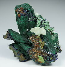 Malachite after large AZURITE crystals with Calcite * Touissit * Morocco