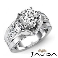 2.1ctw Knot Classic Sidestone Round Diamond Engagement Ring GIA G-VS1 White Gold