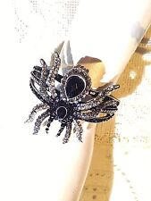 Gothic Vintage Style Black Crystal Look Spider Cuff Bangle Bracelet