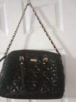 KATE SPADE HANDBAG IN BLACK QUILTED SHINY LEATHER w/ GOLD CHAIN