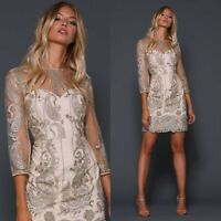 Elle Zeitoune Designer Womens Embroidered Mini Gold Cocktail Dress special Party