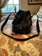 Gorgeous Vintage Coach Vachetta Leather Black Bucket Handbag