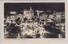 BUENOS AIRES, PLAZA DE MAYO AT NIGHT. VINTAGE RPPC POSTCARD