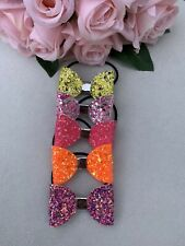 Beautiful Bundle Bright Mini Glitter Pigtail Bows/ Baby Toddler