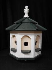 Medium Poly Amish Gazebo Birdhouse Post Mount Handcrafted White & Green Roof