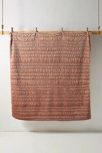 NEW Anthropologie Lustered Velvet Alastair King Quilt in Peach 64-1